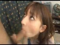 巨乳痴女、木村マイが童貞君をフェラ