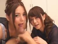 美人女優Rioと吉沢明歩に主観痴女フェラで抜かれる