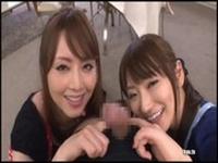 吉沢明歩と香西咲の姉妹に痴女プレイをされるという主観動画