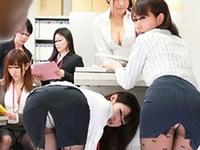 美女OL達は仕事中にパンチラパンスト美脚やエロ尻を見せつけてくる