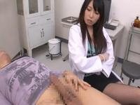 ドS女医がM男患者を罵倒して寸止め手コキで連続射精