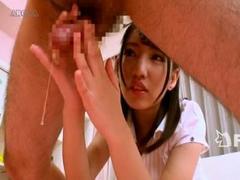 可愛いエステ嬢の4つんばい手コキで我慢汁が糸引きしちゃう