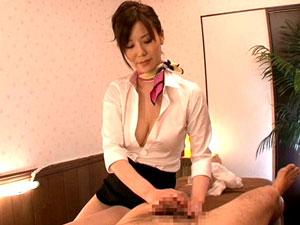 【森ななこ】巨乳痴女回春エステ嬢の凄テク睾丸オイル手コキマッサージでイクッ!