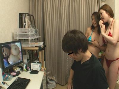 素人M男に自宅訪問した巨乳痴女2人がハーレム3Pで乱交セックス 浜崎りお 鈴木さとみ