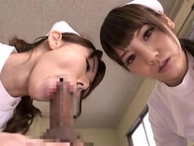 痴女ナースの2人が患者を二人がかりでフェラ抜きしてザーメンを口移しする 波多野結衣 みづなれい