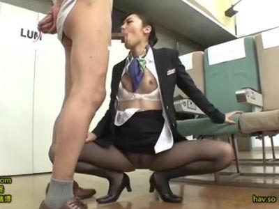 スレンダー美脚なCAがエロサービスの為のセックス特訓 桜井あゆ
