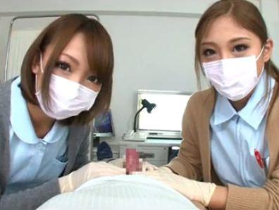 医療用マスクの歯科助手ギャル2人が患者チンポをいじるコスプレ動画 武井麻希 HIKARI