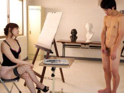 生徒も教師もM男にして調教する美術の痴女先生 新山沙弥