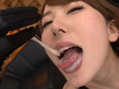 意地悪で優しい痴女責めで射精させたザーメンは唇と舌の上でヌチュヌチュと挑発遊び! 波多野結衣