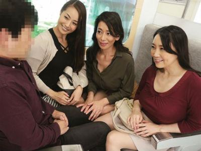 熟女電車「年増に勃起したのぉ?♡」偶然会った人妻熟女と王様ゲームで乱交。電車でHする変態淫乱ババア