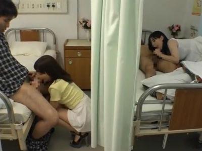 同じ病室に入院してる彼氏をお見舞いに来た彼女とまさかの展開に!