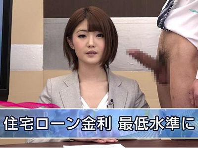 美人アナウンサーが淫語を織り交ぜニュースを読み上げる生本番報道番組 川村まや 神波多一花
