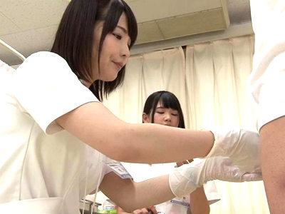 ソーローの患者をゴム手袋のまま手でシコシコしちゃうかわいいナースに暴発射精 白咲碧 橘花音