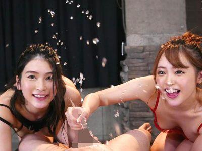 2人の美女に同時に責められ射精も男の潮吹きもさせられ搾り取られるハーレム3P 小倉由菜 本庄鈴