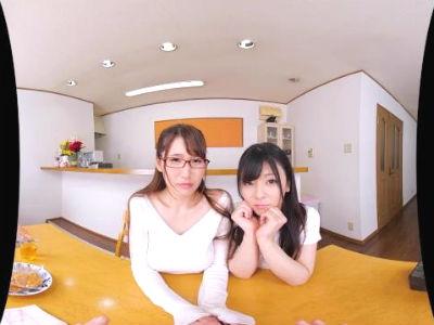 【VR】親の再婚で出来た義理の姉妹が2人とも巨乳で美人で変態だった 岬あずさ 三原ほのか
